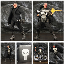 """One:12 Punisher Frank Castle 6"""" Action Figure 1/12 1:12 Comic Movie Toys Doll With Windbreaker Coat Black Suit Model"""