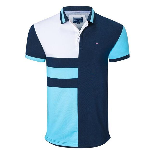 Nova chegada masculina retalhos polo camisas design da marca stright topos negócios casual homme bordado topos mais 3xl 1