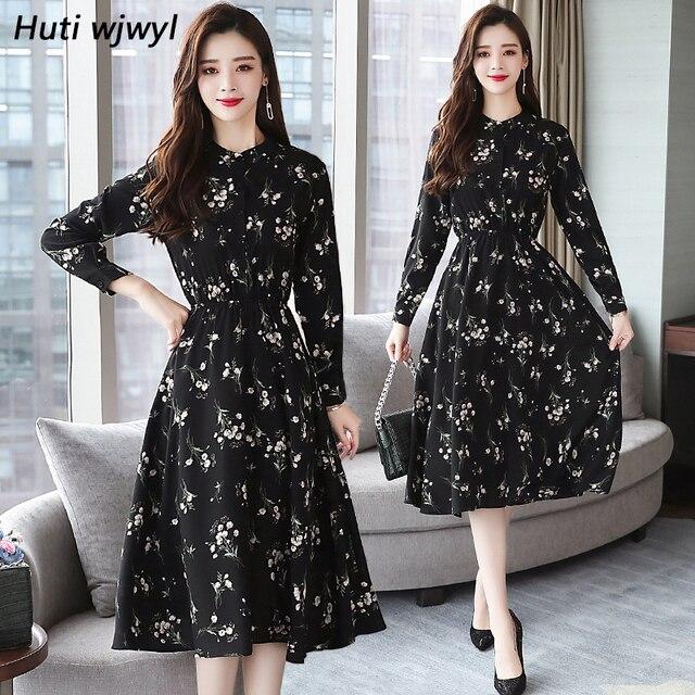 Jesień zima czarny Vintage, w kwiaty szyfonowa sukienka Midi Plus rozmiar sukienki w stylu Boho 2020 eleganckie kobiety strona z długim rękawem sukienka Vestidos