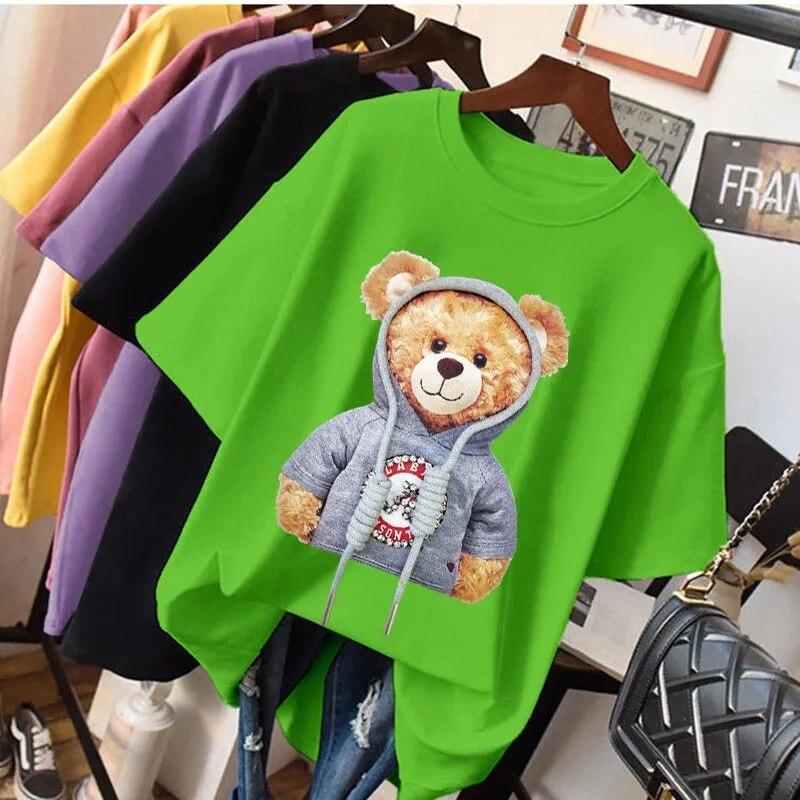 Женская футболка из чистого хлопка, лето 2021, женский топ с коротким рукавом и принтом медведя, свободная рубашка в Корейском стиле