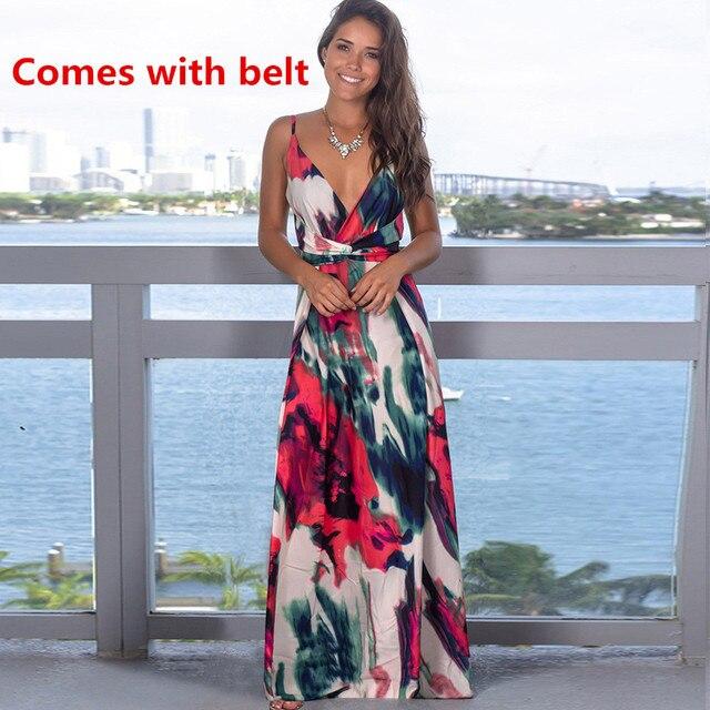 Ladies Print Floral Long Boho Bohemian Beach Summer Dress Women Sundress Sexy V-Neck Sleeveless Strap Maxi Vintage Dress Vestido 2