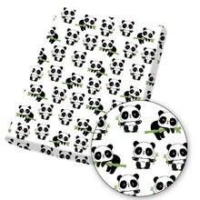Tecido de algodão poliéster panda balanços de bambu pintado folha de pano artesanal máscara saco têxtil casa diy vestido suprimentos 45*145cm 1pc