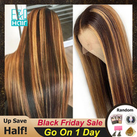 13x6 Lace Front Human Hair Wig Straight Highlight Honey Blonde Brown 360 Lace Frontal Wig Pre Plucked Brazilian Remy For Women