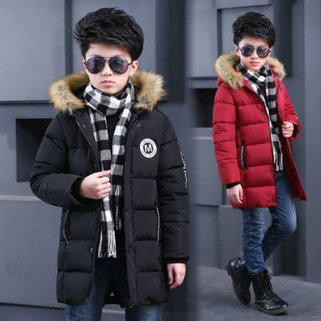 Winter Style BOY'S Quilted Cotton Coat Children Big Boy Thick Mid-length Warm Hooded Large Fur Collar Hand Sieving Cotton Coat