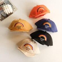 Baby Baseball Hats Spring Summer Cartoon Rainbow Embroidery Beach Caps Cotton Hats Kids Boys Girls Outdoor Sun Hats