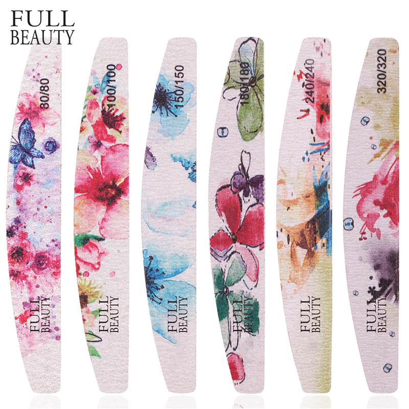 1pcs Sandpaper Colorful Flower Nail Files Nail Buffer Sand Block Gel Grinding 80/100/150/180/240/320 Files Manicure Tool CH1523
