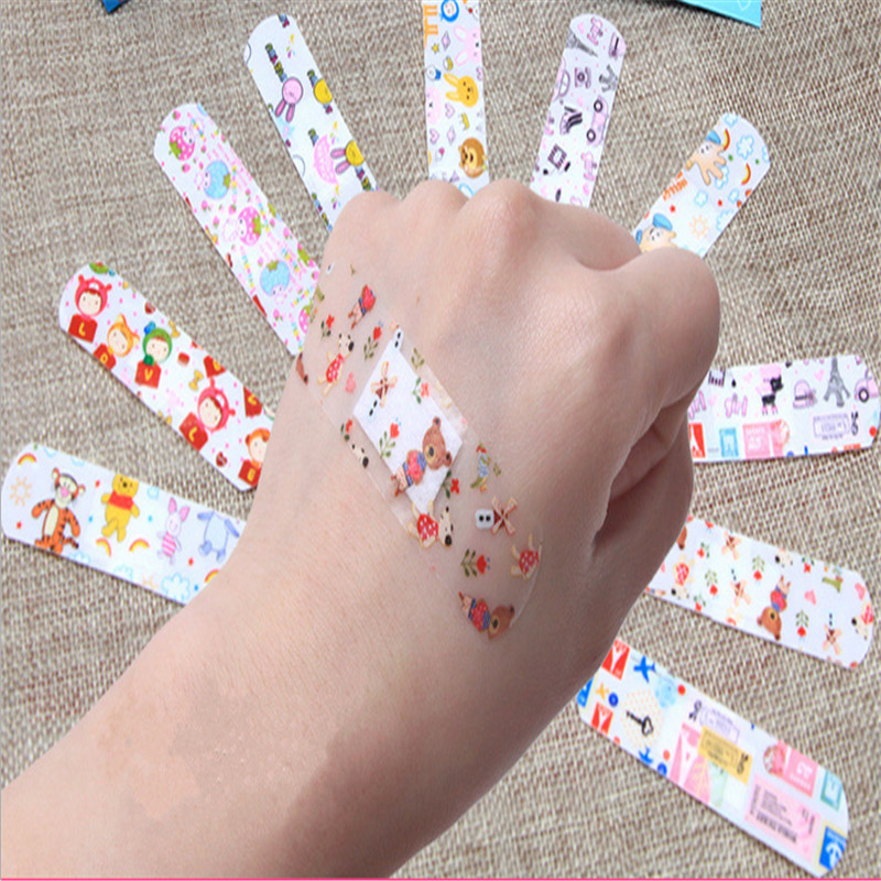 100pcs Waterproof Breathable Cute Cartoon Band Aid Hemostasis Adhesive Bandages First Aid Emergency Kit For Kids Children image