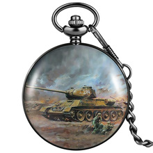 Boy Pocket Watch World War II Tank Pattern Quartz Number Dial Smooth Cover Thick Chain Pendant Decorations Flip Case Watch Gifts