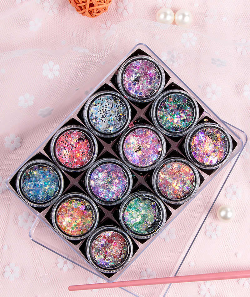 Glitter Powder Eye Makeup cekiny Face Shinny Gel Pigment Flash Heart Star Cream Rainbow Gold Silver Pink Mermaid Flake