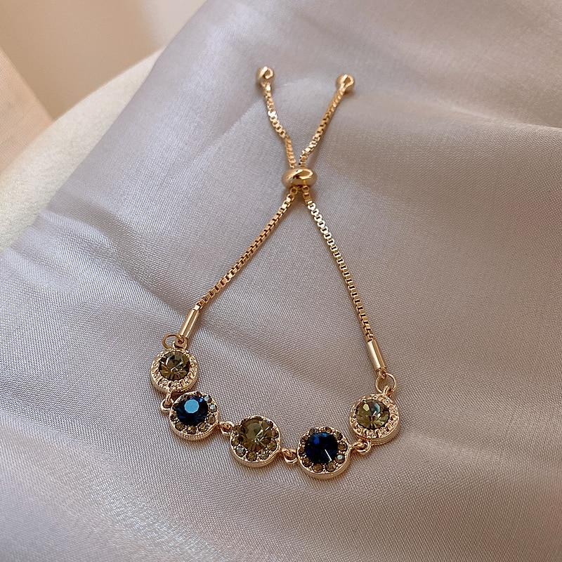 Korea New Design Fashion Jewelry Retro Color Round Crystal Bracelet Elegant Women's Stretchable Adjustable Simple Bracelet