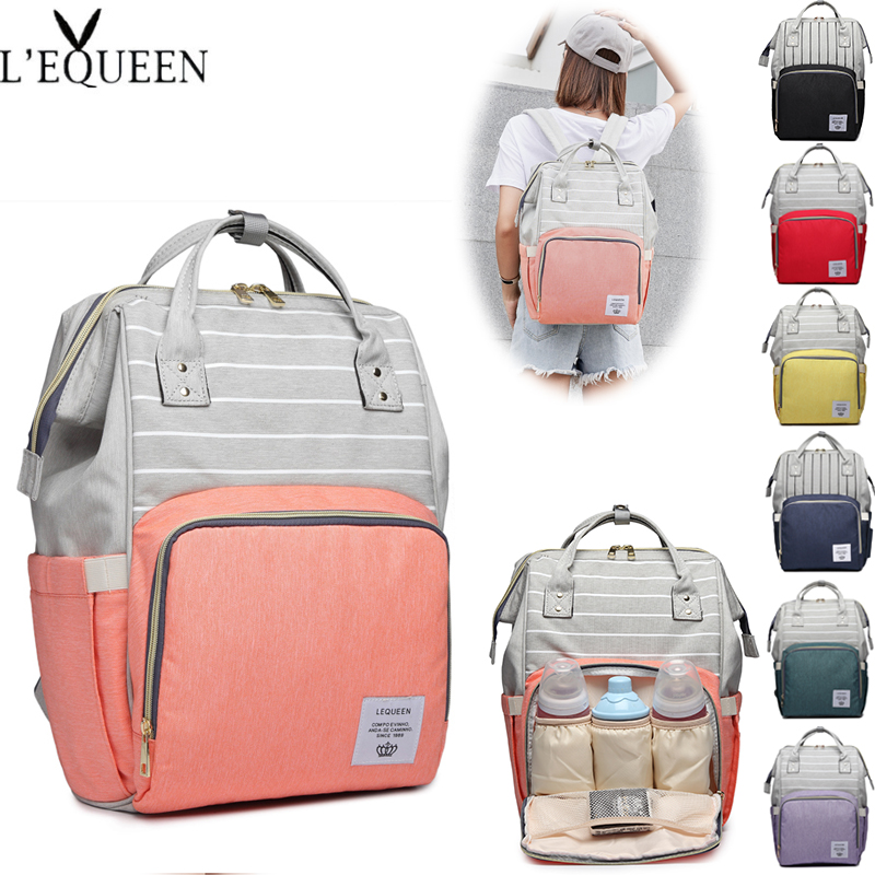 LEQUEEN Large Capacity Diaper Bag Mummy Maternity Bag Nappy Nursing Bags Women Travel Backpacks Fashion Baby Bag