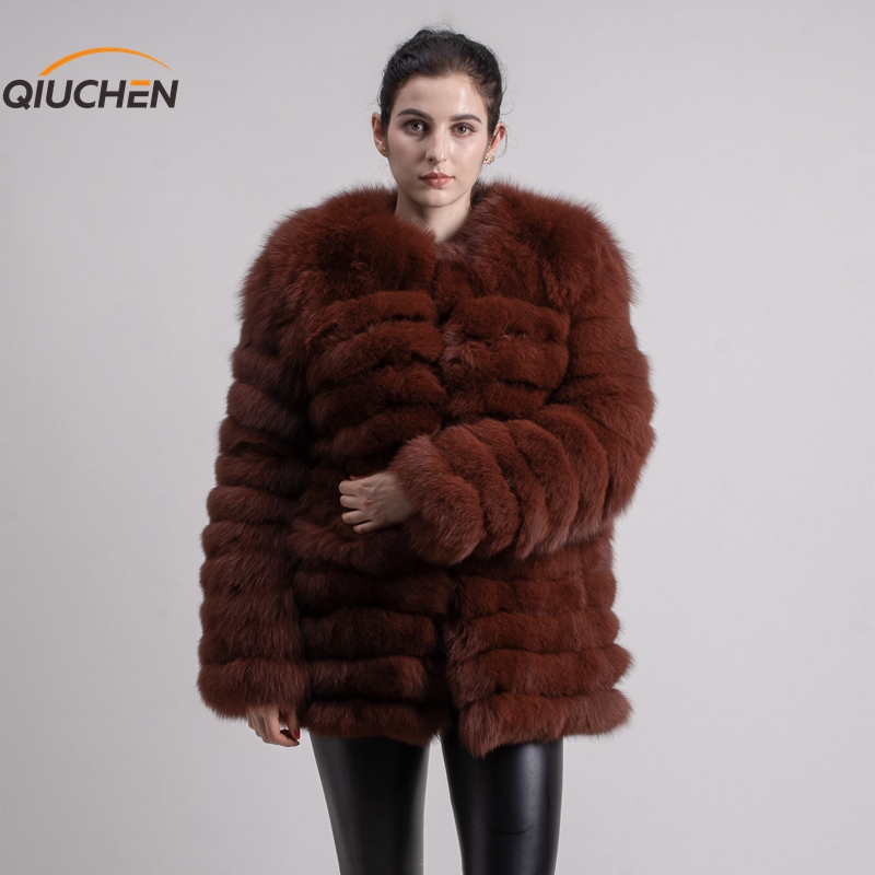QIUCHEN PJ1823 livraison gratuite manteau de fourrure de renard réel femmes véritable renard outwear fourrure moelleuse automne et hiver nouveauté en gros