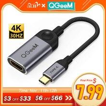 Qgeem Usb C Naar Hdmi Adapter Kabel 4K 30Hz Type C Naar Hdmi Voor Huawei Mate 20 macbook Pro 2018 Ipad Pro Hdmi Vrouwelijke Naar Usb Type C