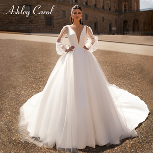 Image 1 - Ashley Carol Satin A Line Wedding Dress 2020 Sexy V neck Backless Shining Puff Sleeve Vintage Wedding Gowns Vestido De Noiva