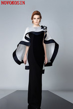2020 Mother Of the dress Shawl Black With Ivory Satin Poncho Lady Front Short Back Long Fashion Cape Shoulder Flowers