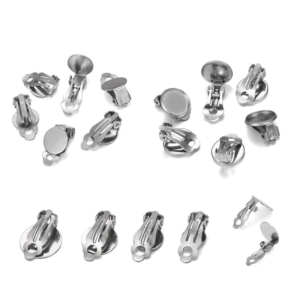 10 шт./лот, серьги-Клипсы из нержавеющей стали, основа для сережек, пустая подставка для стеклянных кабошонов, принадлежности для самостоятел...