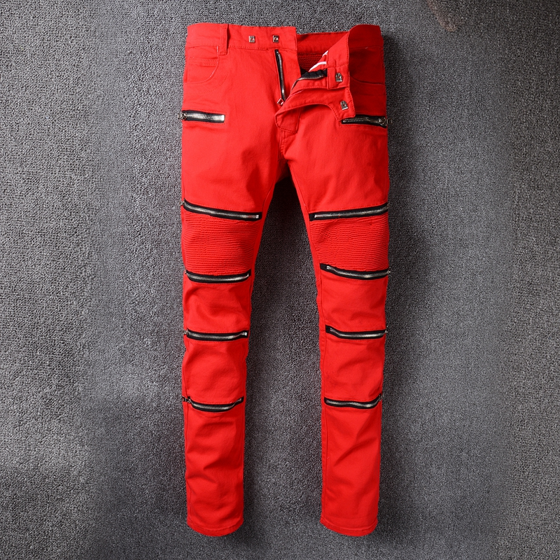 European and American street fashion autumn and winter punk style men's zipper motorcycle jeans red personality slim jeans