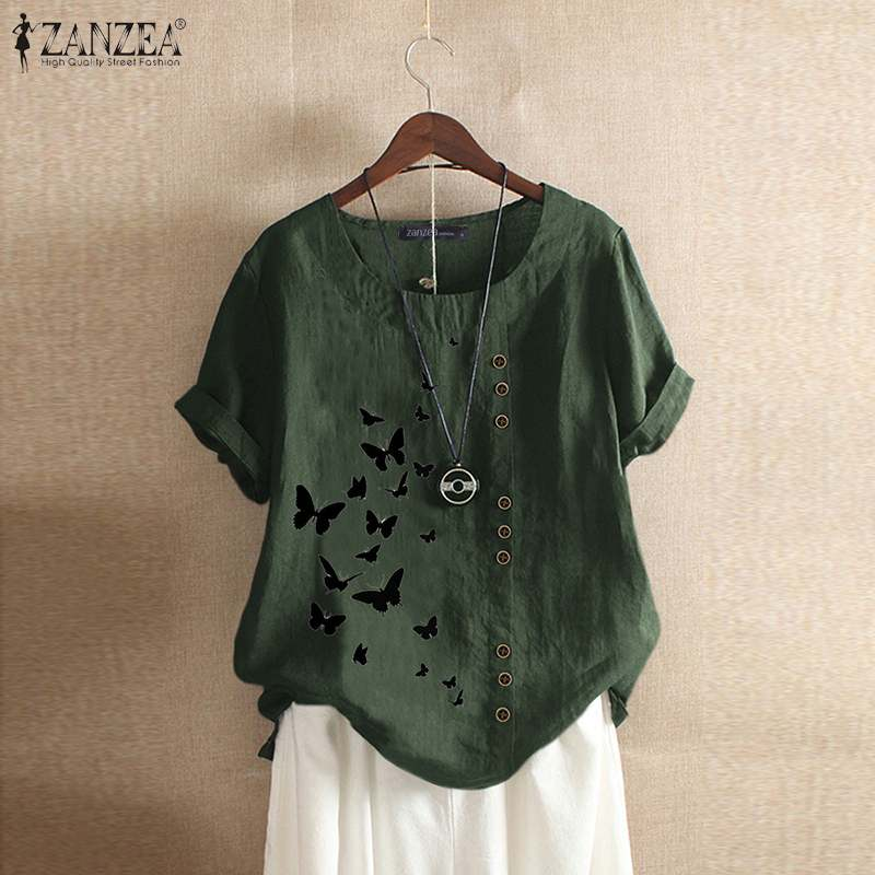 Stylish Printed Tee Shirts Women's Summer Blouse 2020 ZANZEA Vintage Button O Neck Blusa Female Short Sleeve Tunic Plus Size