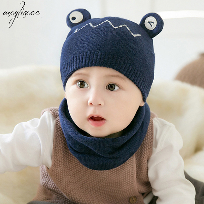 Maylisacc 2019 New Arrival Infant Baby Cartoon Solid Color 100% Cotton Hat Scarf Set Neck Autumn Winter Baby Girl Boys 2 Pcs Set