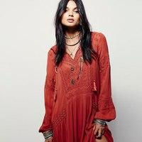 Plus Size 2019 Summer Autumn Ladies Long Sleeve Linen Dress Ethnic Embroidery Hippie Boho People Maxi Robe Long Dress Vestido