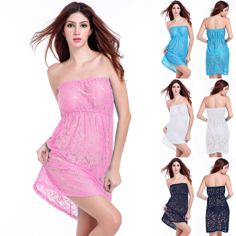 SWIMMART 2020 Tunic Beachwear Paling Populer Liar Perempuan Pantai Pareo Strapless Tube Top Beach Dress Lace Sampul Ups
