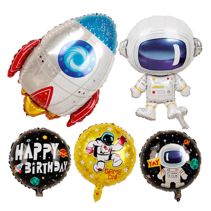 4D stereoskopowa kreskówka z balonów foliowych astronauta statek kosmiczny rakieta ziemia folia kulki dekoracje na imprezę urodzinową dzieci zabawny balon