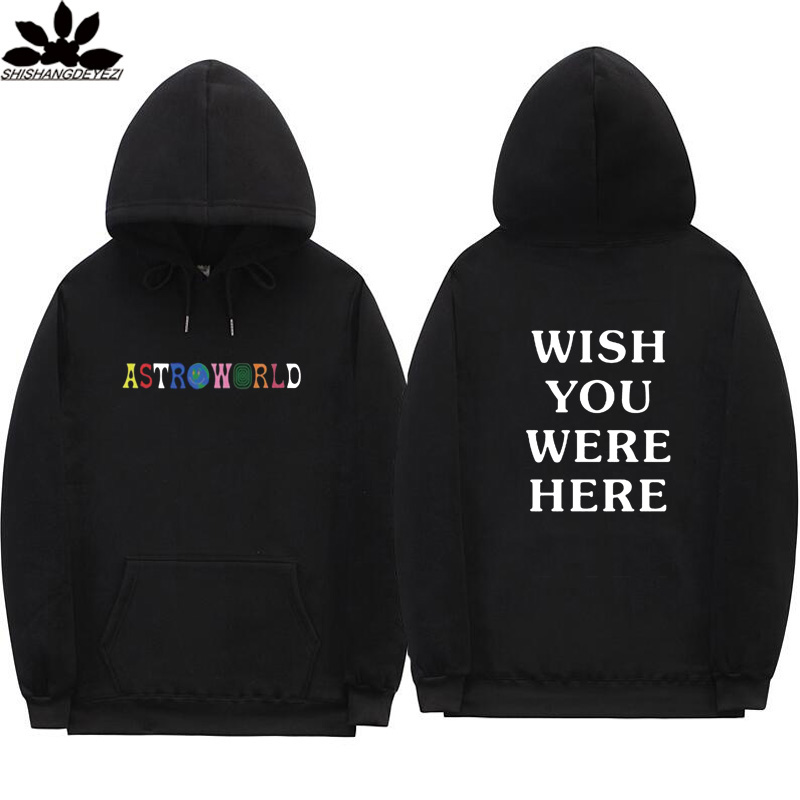Astroworld Men And Women Hip Hop Streetwear Hoodie Men WISH YOU WERE HERE 2018 Fashion Letters Autumn And Winter Fleece Hoodies