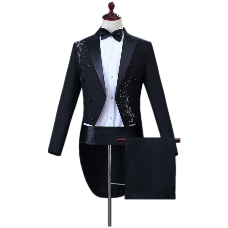Fashion Men's Classic Tuxedo Suit Set Slim Up And Down Inlay Diamond Adorn Black Tuxedo Prom Party Set (tail Coat+belt+pant)