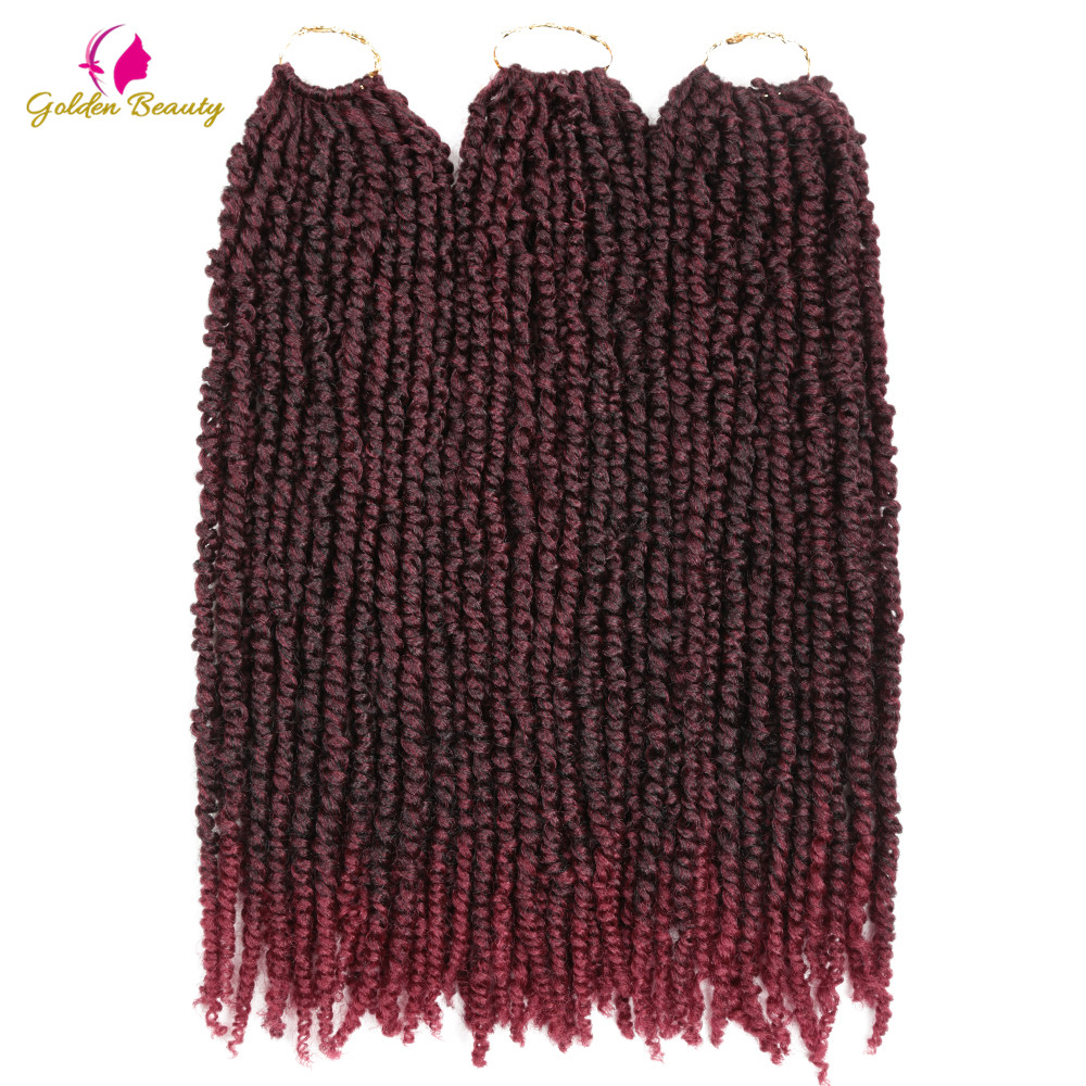 24strands Passion Twist Crochet Hair Pre-looped Fluffy Crochet Braid Hair Ombre Pre Twisted Synthetic Braiding Hair Goden Beauty image