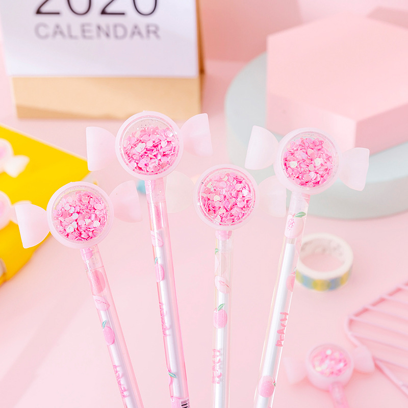 4 Pcs/lot Cherry Blossom Sequins Honey Peach Black Ink Gel Pen Signature Pen Escolar Papelaria School Office Supply Gift