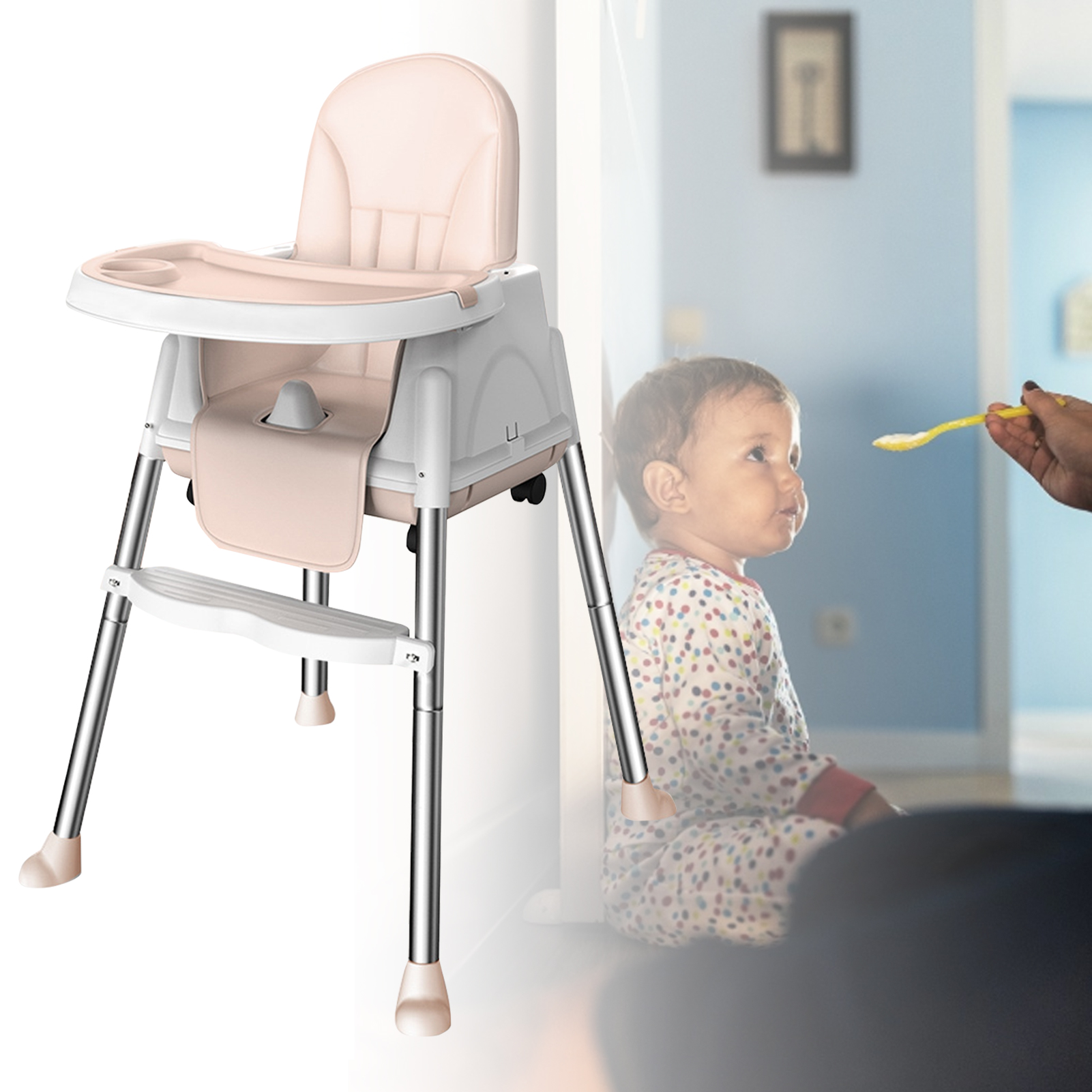 Multifunctional Portable Baby High Chair Adjustable Baby Kids Safety Dining High Chair Booster With Seat Wheels Cushion