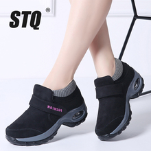 STQ 2020 겨울 여성 스노우 부츠 여성 신발 따뜻한 플랫폼 블랙 발목 부츠 여성 높은 웨지 방수 하이킹 부츠 1851