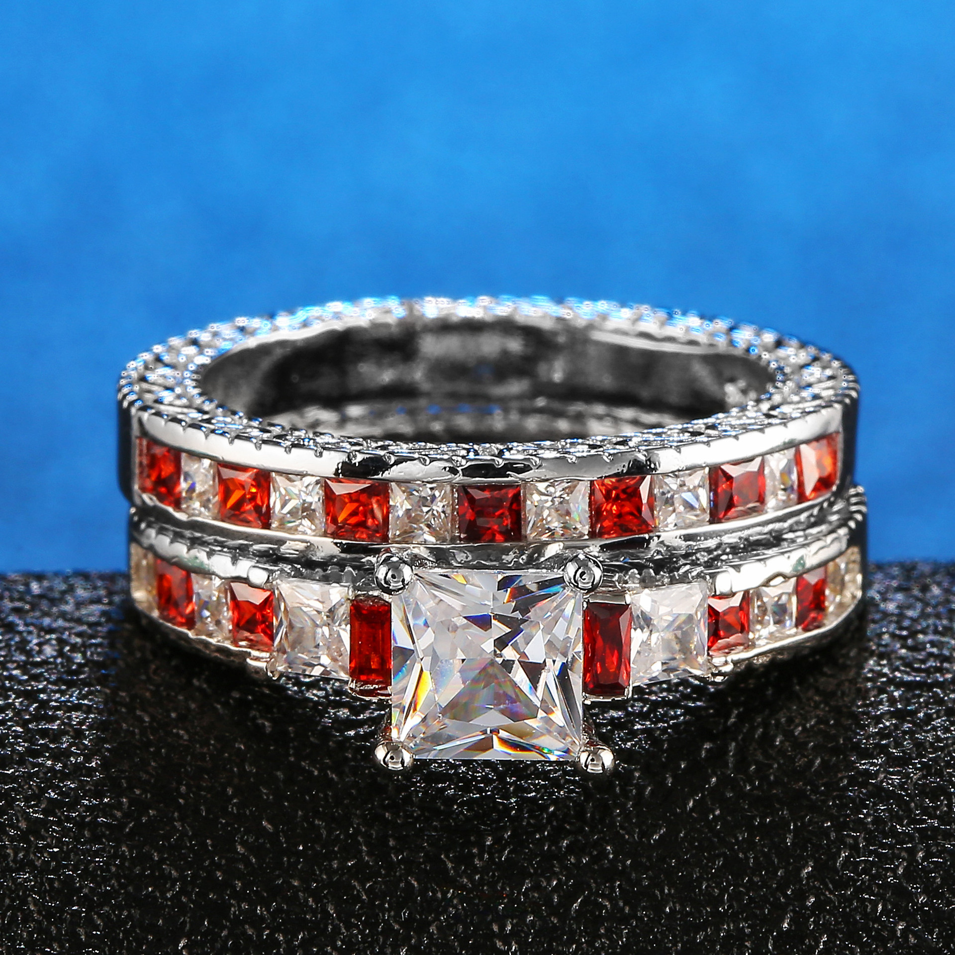 Double Square CZ Rings in Rhodium Plated Wedding Bands AAA Zircon Jewelry Women Accessories Engagement wedding Rings