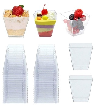 50pcs 60ml Disposable Plastic Cups Clear Portion Transparent Trapezoidal Food Container for Jelly Yogurt Mousse Dessert Baking