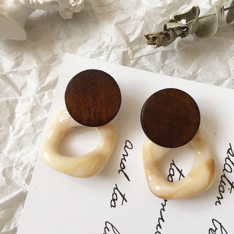Bestessy Fashion Boho Vintage Statement Earrings Trendy Wooden Earrings for Women Geometric Party Wedding Jewelry Wholesale in Stud Earrings from Jewelry Accessories