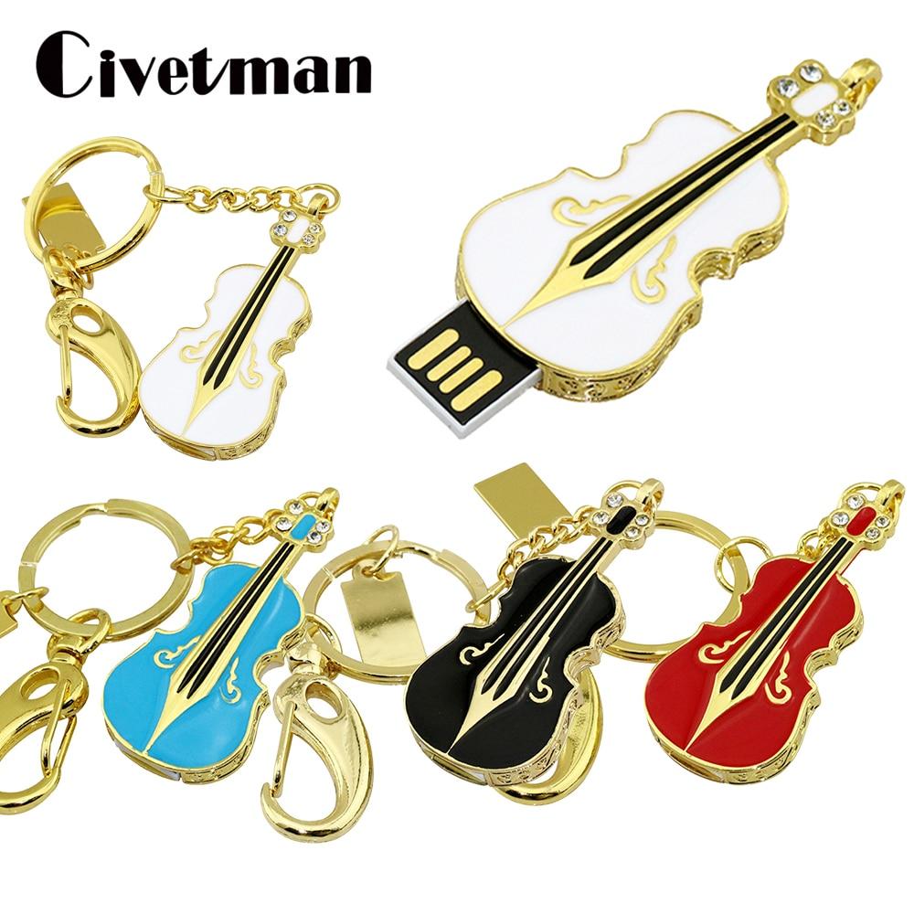 Pen Drive Metal Keychain 4GB 8GB 16GB 32GB 64GB 128GB Crystal Violin USB Flash Drive Pendrive Waterproof Cle USB Stick Memories