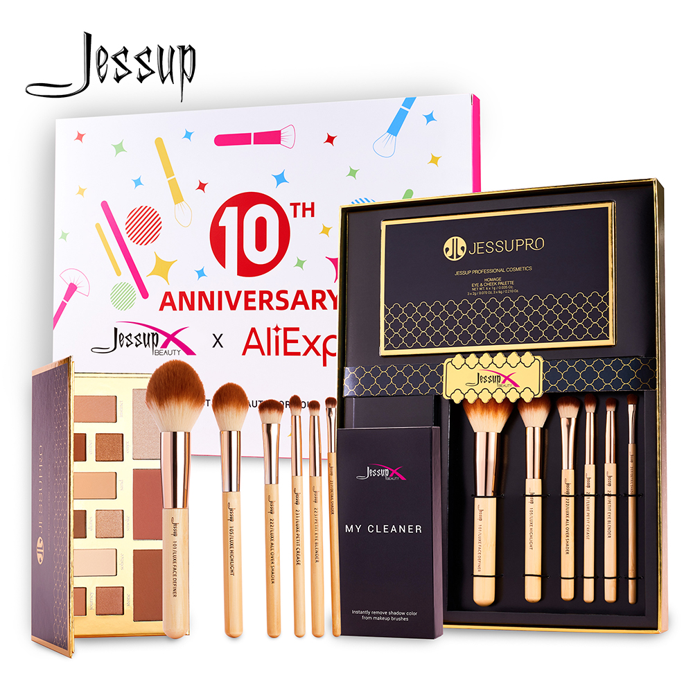 Jessup Makeup Kit Gift Combo For Daily Use Include 6pcs Bamboo Brush Set & Eyeshadow Palette & Brush Cleaner Paper Bag Handle