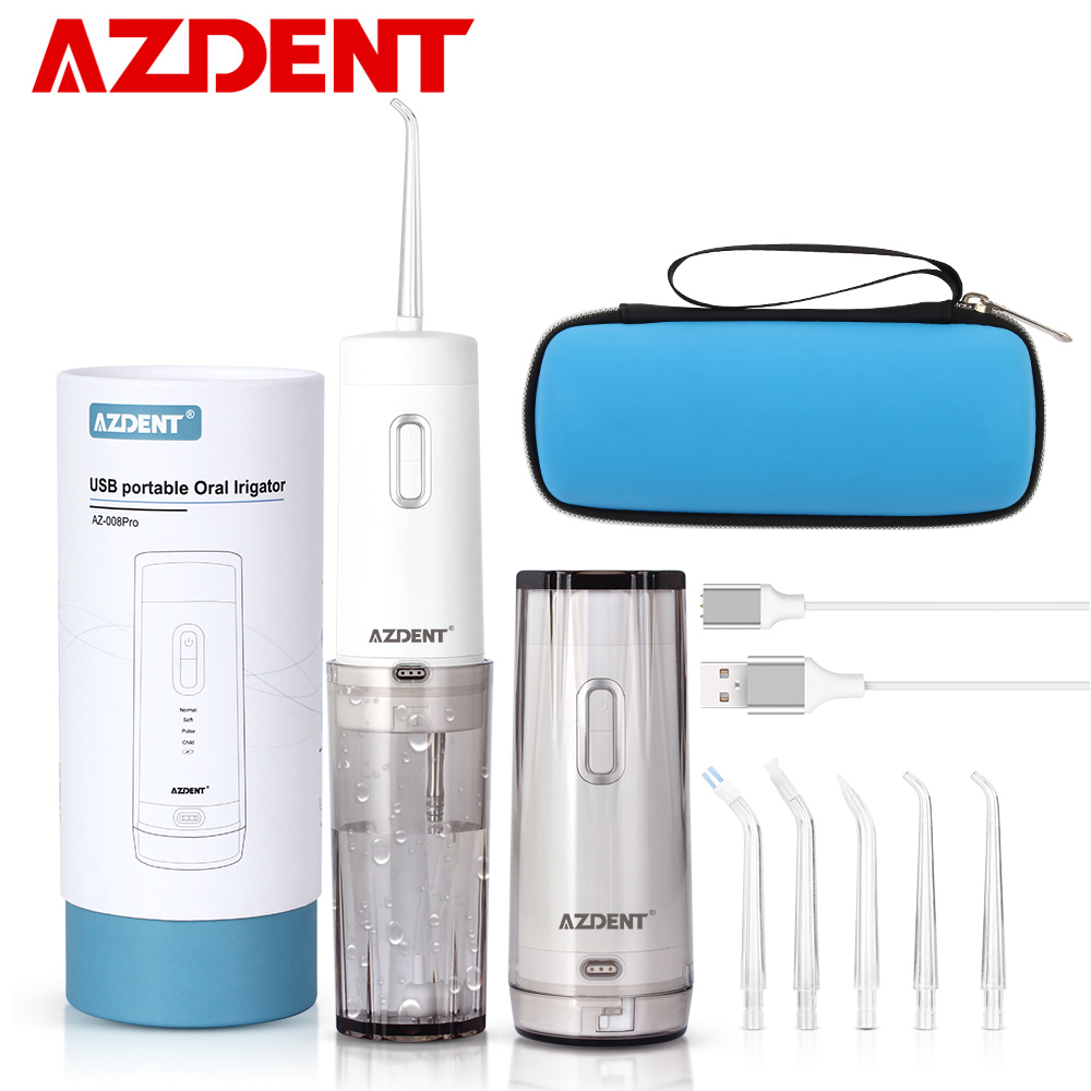 1 Kit AZ-008 Pro Oral Irrigator with Travel Case Bag USB Rechargeable Battery Portable Water Dental Flosser Waterproof 210ML 5 T