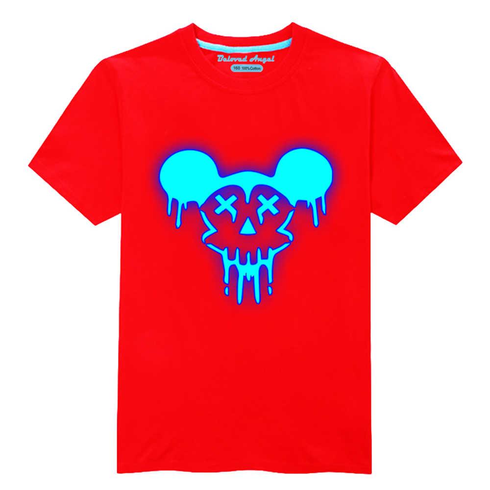 発光プリントベビー半袖tシャツダークサマーキッズボーイtシャツの服の綿の幼児はtシャツ3-15年