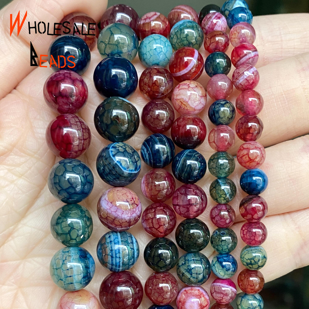 Natural Stone New Arrival Dragon Veins Tourmalines Agates 6-10 MM Round Shape Beads For Jewelry Making Handmade Bracelets 15