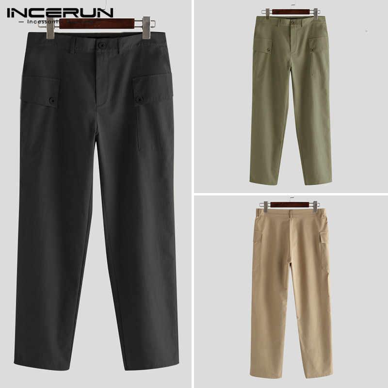 Męskie spodnie na co dzień przycisk Baggy Joggers kieszenie Solid Color długie spodnie męskie Streetwear 2020 modne spodnie Cargo kombinezony INCERUN