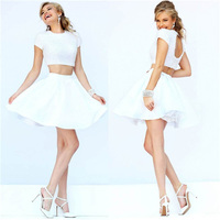 Luxurious Pearls 2 Two Pieces Short Prom Dress White Satin Cocktail Dress Two Piece Keyhole Back Graduation Party Dress TD027