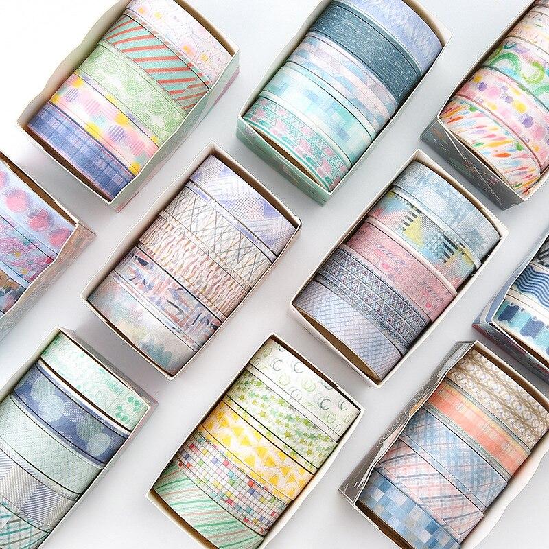 9 Pcs/lot Creative Basic Color Geometry Washi Tape Diy Decorative Scrapbooking Masking Tape Adhesive Tape Set Label Sticker