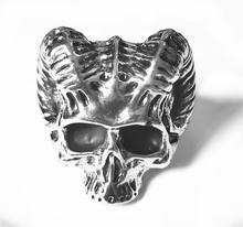 Unique Punk Gothic Satanic Demon Sorath Skull Ring Men Goat Head Biker Ring Baphomet Jewelry Gift Retro Rock Punk Skull Ring(China)