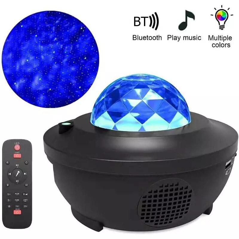 Led estrela luz da noite lâmpada música estrelado onda de água colorido céu estrelado projetor blueteeth som-ativado projetor luz decoração
