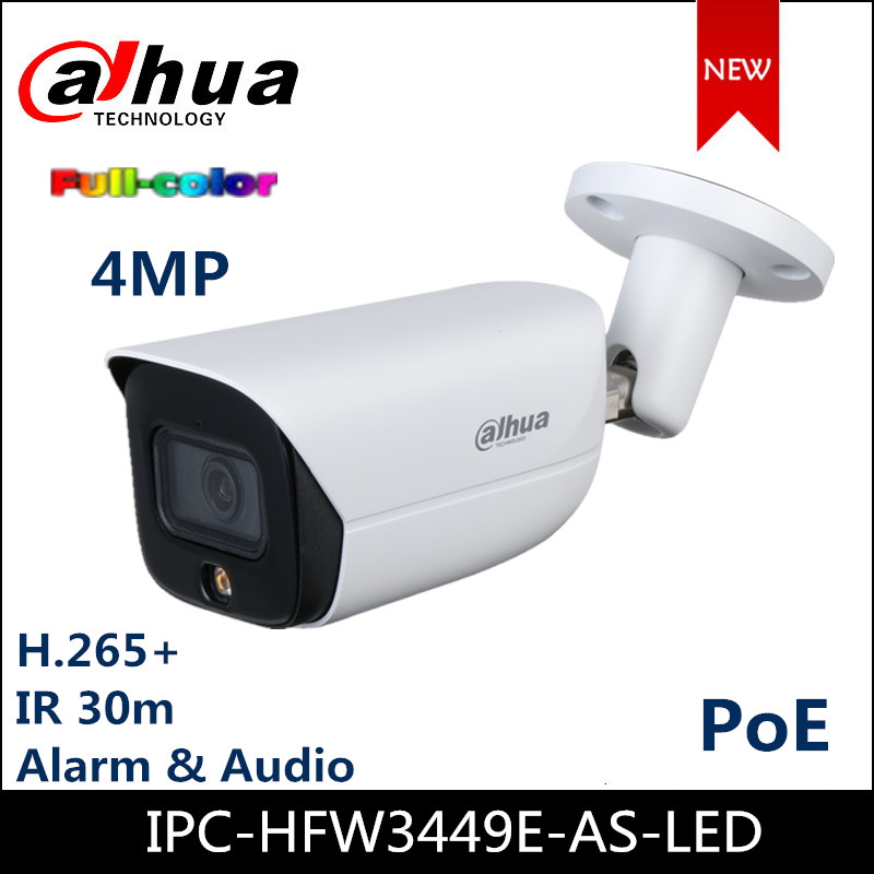 NEW <font><b>Dahua</b></font> <font><b>4MP</b></font> <font><b>IP</b></font> <font><b>Camera</b></font> IPC-HFW3449E-AS-LED Lite AI Series Full color Warm LED <font><b>Camera</b></font> H.265+ built-in Mic image