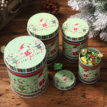 4PCS Candy Cookie iron Storage Box Tin Container Christmas Jar Gift for Children Santa Claus Elk Snowman Snowflake Print boxF913(China)