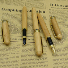 (12 Pieces/Lot) Fountain Pens Wholesale Ink Pen From Nature Bamboo Material Stationery Writing Supplies Gift Joy Corner