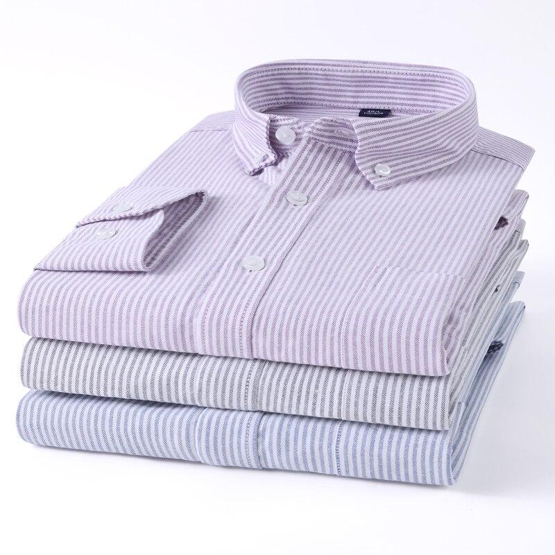 2020 Mens Wear Oxford Striped Shirt Casual Long Sleeve 100% Pure Cotton Work Shirt Spring Soft Male Social Business Dress Shirts