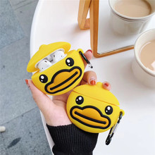 For AirPod 2 Case 3D Funny Yellow Duck Cartoon Soft Silicone Wireless Earphone Cases Apple Airpods Cute Cover Funda